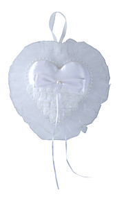 Pure White Rose Flower with Crystal Pearl Decoration Hanging Ring Pillow for Wedding Party(30*29cm)