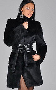 Women's Casual/Daily Simple Fur Coat,Patchwork Stand Long Sleeve Winter Black Faux Fur Thick