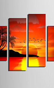 E-HOME® Stretched Canvas Art Sunset At Sea Decoration Painting  Set of 4