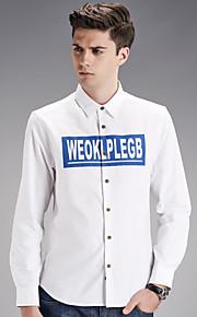 Camisa De los hombres Estampado Casual-Algodón-Manga Larga-Azul / Blanco / Gris