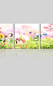 JAMMORY Canvas Set Landscape ,Three Panels Gallery Wrapped, Ready To Hang Vertical Print No Frame Dream Garden