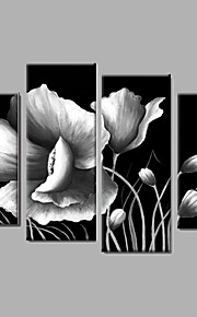 4 piece/set Flower Black White Wall Art Handpainted Oil Painting Wall Art Ready to Hang Stretched Frame