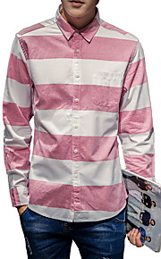 Camisa De los hombres A Rayas Casual-Algodón-Manga Larga-Azul / Rosa