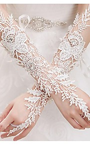 Elbow Length Fingerless Glove Polyester Bridal Gloves Spring / Summer / Fall Embroidery / lace