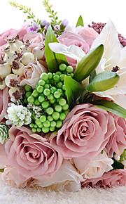Bouquet sposa Tondo Rose Bouquet Matrimonio Poliestere 22cm