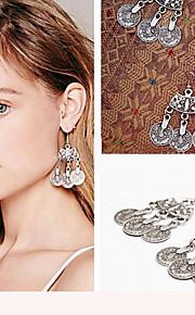 Fashion 2016 Boho Gypsy Zamac Vintage Tibetan Silver Tassel Coin Dangle Earrings Statement Earrings For Women