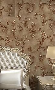 European Vintage Leaf Embossed Textured Wallpaper 3D Wall Paper Rolls Bedroom Living Room Background Wall Decor
