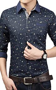 男性用 プリント カジュアル / プラスサイズ シャツ,長袖 コットン / ポリエステル ブルー / レッド / ホワイト
