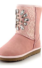 Черный / Розовый / Серый-Женский-Для прогулок / На каждый день / Для вечеринки / ужина-Кожа-На плоской подошве-Теплая зимняя обувь-Ботинки