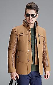 男性用 レギュラー ダウン コート,コットン / ポリエステル プレイン / パッチワーク 長袖