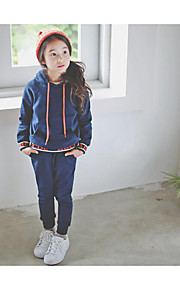 Mädchen Kapuzenpullover / Kleidungs Set-Lässig/Alltäglich einfarbig Baumwolle Winter / Herbst Blau
