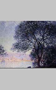 hand-painted pintura óleo antibes visto dos jardins salis por Claude Monet com moldura esticado