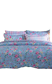 Fleur Ensembles housse de couette 4 Pièces Polyester Motif Imprimé Polyester Lit 2 Places 'Queen'1 pièces (1 housse de couette, 1 drap, 2