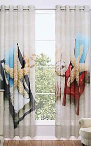 Deux Panneaux Le traitement de fenêtre Moderne , Nature & Paysages Salle de séjour Polyester Matériel Sheer Rideaux ShadesDécoration