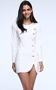 De las mujeres Corte Bodycon Vestido Casual/Diario Simple,Un Color Escote Redondo Mini Manga Larga Blanco / Amarillo Algodón / Otro