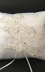 White 1 Ribbons / Faux Pearl / Rhinestones / Embroidery Satin