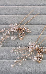 Women's Rhinestone Headpiece-Wedding / Special Occasion / Casual Hair Pin 1 Piece Clear Round One Size