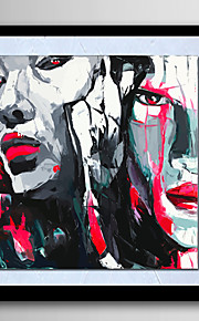 Pintada a mano Abstracto / Personas / Fantasía / Retratos Abstractos Pinturas de óleo,Modern Un Panel LienzosPintura al óleo pintada a