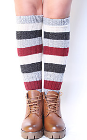 Women's Winter Knitting Warm National Wool Multicolor Splicing Leg Warmers