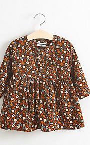Mädchen Kleid-Lässig/Alltäglich Blumen Baumwolle Frühling / Herbst Gelb