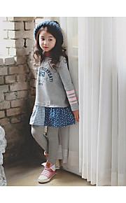 Mädchen Kleid / Anzug & Overall-Ausgehen Patchwork Baumwolle Frühling / Herbst Grau