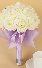 Wedding Flowers Round Roses Bouquets Wedding / Party/ Evening Satin / Foam 7.87(Approx.20cm)