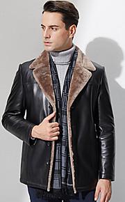 Manteau en Fourrure Hommes,Couleur Pleine Grandes Tailles / Décontracté / Quotidien simple Manches Longues Noir Autres EpaisAutomne /