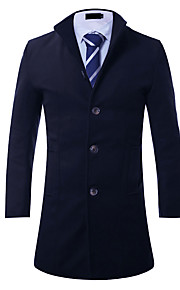 Men's Going out / Casual/Daily / Work Street chic Coat,Solid Notch Lapel Long Sleeve Fall / Winter Blue / Red / Black / Gray / Green Wool