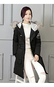 Women's Long Padded Coat,Simple Going out Solid-Polyester Polyester Long Sleeve Round Neck Red / Black / Green