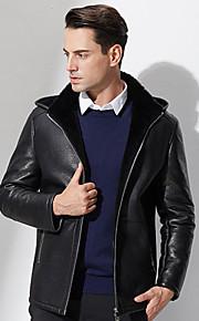 Manteau en Fourrure Hommes,Couleur Pleine Décontracté / Quotidien simple Manches Longues Capuche Noir Polyester Epais Hiver