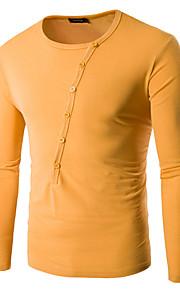Heren Eenvoudig Lente / Herfst T-shirt,Casual/Dagelijks Effen Ronde hals Lange mouw Blauw / Wit / Zwart / Grijs / Geel Katoen Medium
