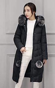 Women's Long Down Coat,Simple Casual/Daily Solid-Nylon White Duck Down Long Sleeve Black