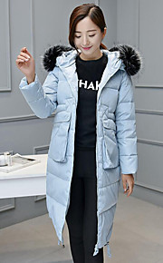 Women's Long Down Coat,Simple Plus Size / Casual/Daily Solid-Polyester White Duck Down Long Sleeve Blue