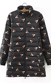 Women's Long Padded Coat,Simple Casual/Daily Print-Others Polyester Long Sleeve Black