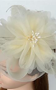 Femme Plume Tulle Filet Casque-Mariage Occasion spéciale Décontracté Coiffure Voile de cage à oiseaux Pique cheveux 1 Pièce