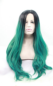 Sylvia Synthetic Lace front Wig Black Roots Green Hair Heat Resistant Long Wavy Synthetic Wigs