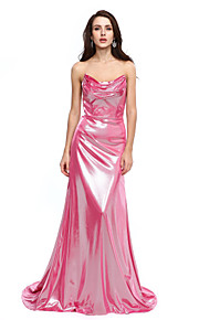 TS Couture® 포멀 이브닝 드레스 - 스파클 & 샤인 A-라인 카울 넥 코트 트레인 져지 와 주름