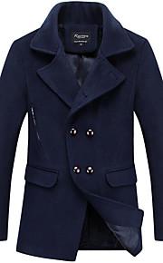 Langærmet Herre Blå / Rød / Sort Ensfarvet Simpel Casual/hverdag / Plusstørrelser Trenchcoat,Polyester