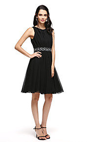 TS Couture® Cocktail Party Dress - Little Black Dress A-line Notched Short / Mini Satin with Sash / Ribbon / Bow(s)