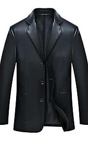 אחיד פשוטה מידות גדולות ז'קטים מעור גברים,כחול / שחור שרוול ארוך פוליאסטר