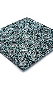 New Mens Pocket Square Hanky Handkerchief Light Green Paisley Casual Business