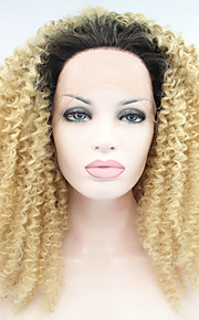 Sylvia syntetisk blonder foran parykk sort blonde ombre hår varmebestandig kinky krøllete syntetiske parykker for svarte kvinner