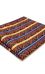 Mens Pocket Square Hanky Handkerchief Orange Stripes Fashion Business
