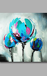 Stretched (Ready to hang) Hand-Painted Oil Painting 60cmx60cm Canvas Wall Art Modern Flowes Blue Tulips