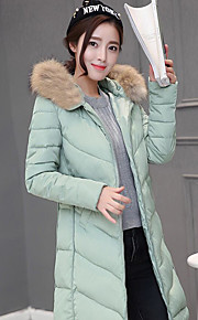 Women's Long Down Coat,Simple Casual/Daily Solid-Polyester White Duck Down Long Sleeve Round Neck Pink / Red / Black / Gray / Green