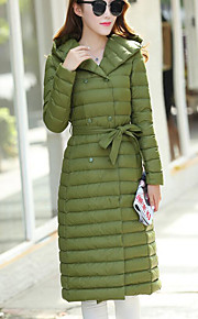 Women's Long Down Coat,Simple Plus Size / Casual/Daily Solid-Polyester White Duck Down Long Sleeve Green
