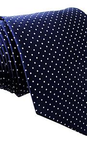 Men's Necktie Tie For Men Navy Blue Dots 100% Silk Jacquard Woven Business Dress Casual Wedding