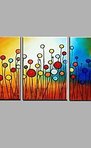 Hand-Painted Landscape / Floral/Botanical 100% Hang-Painted Oil Painting,Modern / Pastoral Three Panels Canvas Oil Painting For Home