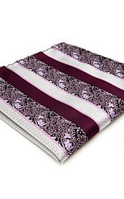 Mens Pocket Square Purple Stripes For Men 100% Silk Handkerchief Wedding Dress Jacquard Woven