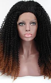 Sylvia syntetisk blonder foran parykk sort brun ombre hår varmebestandig kinky krøllete syntetiske parykker for svarte kvinner